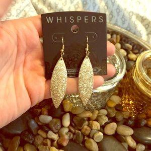 Gold sparkle dangle earrings